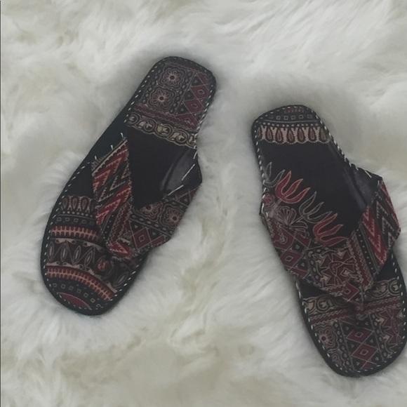 9a01d6b43 Leather and Ankara flip flops handmade in Senegal